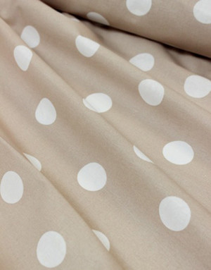 {[en]:Percale fabric ''Large polka dots on beige''}
