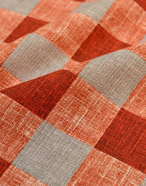 {[en]:Waffle fabric ''Orange grey checkwork''}