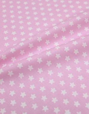 {[en]:Poplin cotton ''Small white stars on pink''}