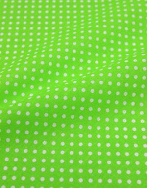 {[en]:Cotton fabric ''Little polka dots on bright green''}