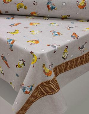 {[en]:Panama weave cotton ''Easter Hens''}