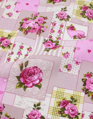 {[en]:Waffle cotton fabric ''Shabby Chick patchwork''}
