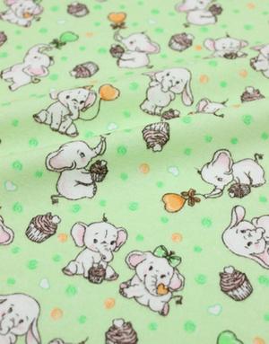 {[en]:Flannel cotton ''Sweet couple'' green}