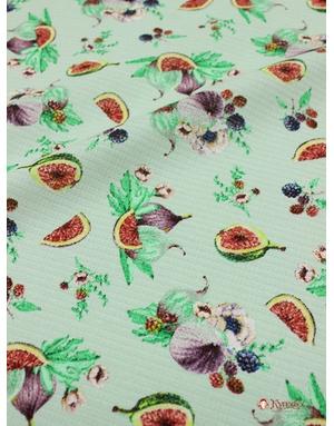 {[en]:Waffle fabric ''Figs on mint''}