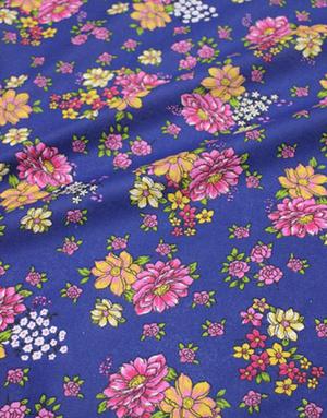 {[en]:Сotton chintz fabric ''Aglaya'' dark blue}