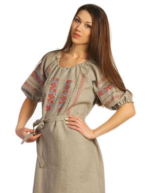 slavic style linen dress