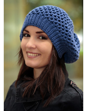 Blue hand knit French beret