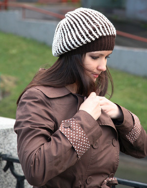 Brown hand knit beret