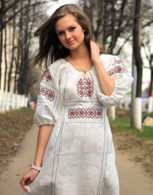 linen dress slavic style