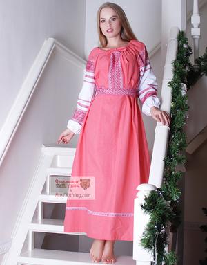pink linen russian dress