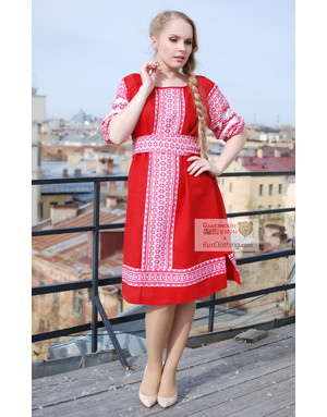 Russian dress red linen