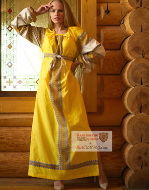 yellow linen slavic dress