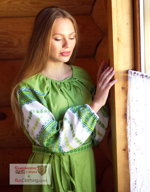 Russian linen green dress