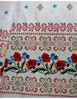 {[en]:Ethnic fabric by the yard Poppies and cornflowers ornament}