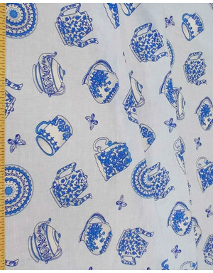 Russian linen fabric 'Tea Motifs''