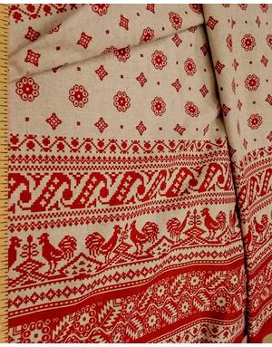 Textile de lin russe '' Cockerel sur le toit ''