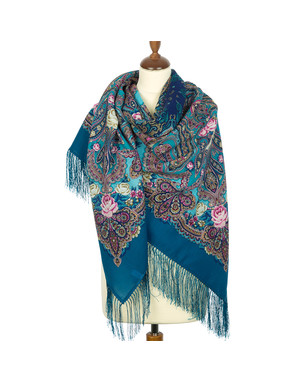 Wool shawl ''Night in the manor''