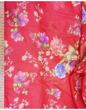 {[en]:Russian pattern cotton fabric Flowers on red}