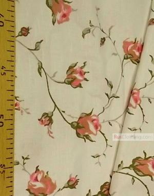 Tissu coton fleuri au metre ''Pink Roses On White''}