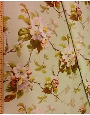 {[en]:Russian pattern cotton fabric Apple green color on}