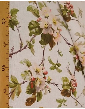 Russian cotton fabric pattern ''Apple blossoms on white''