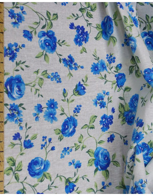 Floral fabric by the yard ''Blue flowers''