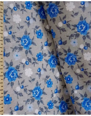 Floral fabric by the yard ''Blue Roses''