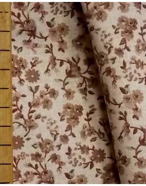 {[en]:Russian pattern cotton fabric Beige flowers on a cream}