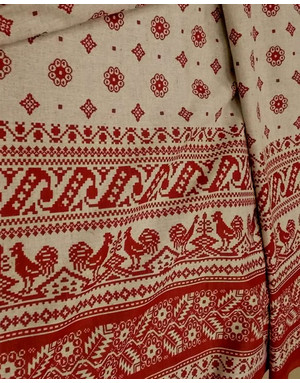 {[en]:Ethnic fabric by the yard Roosters on the roof}