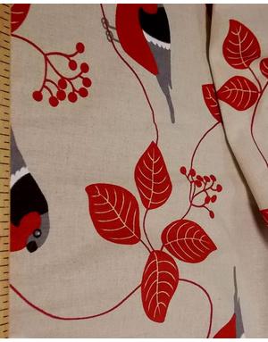 {[en]:Russian pattern cotton fabric Bullfinches on mountain ash}