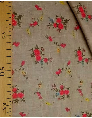 {[en]:Russian linen fabric by the yard Red bouquet with grey}