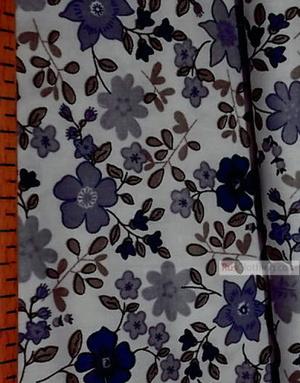 Tissu coton fleuri au metre ''Blue Flowers On White''}