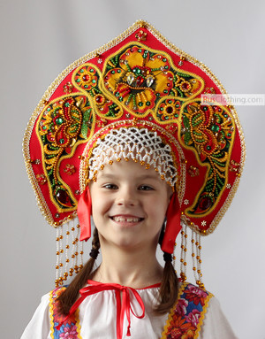 Simple silk kokoshnik