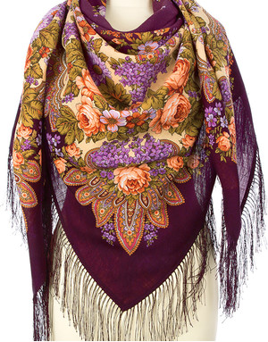 Wool shawl ''Lilac flowering''