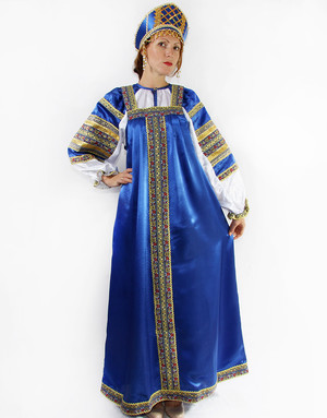 russian traditional silk dress
