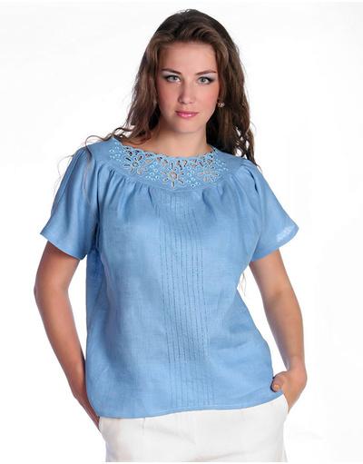 Linen blouse (blue)