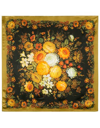 Châle et foulard russe en soie ''Zhostovo Bouquet''