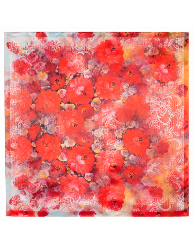 Silk shawl ''Red Roses''