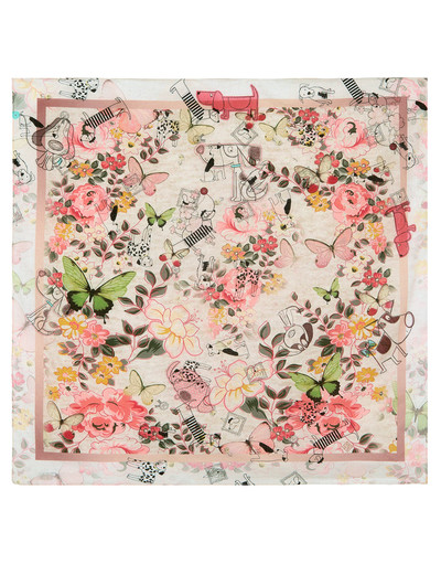 Cotton head scarf ''Dogs and butterflies''
