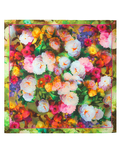 Cotton head scarf ''Peonies''