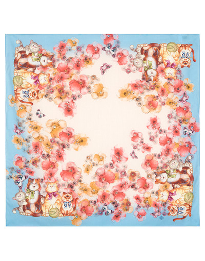 Foulard en coton ''Cats and Flowers''