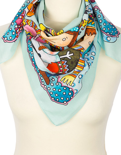 Cotton head scarf ''Snowmen''