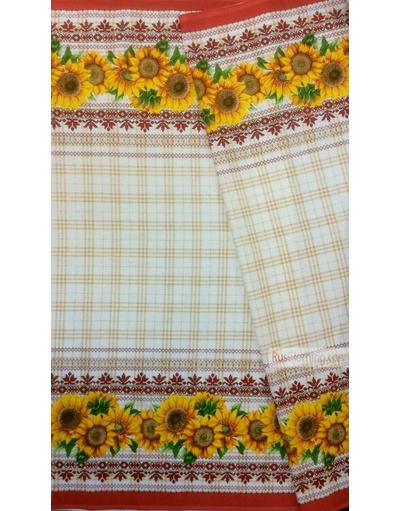 Tissu vintage folklorique au metre ''Sunflowers''}