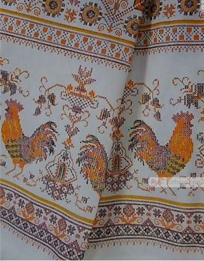 Rooster Print Fabric by the yard ''Colored Cocks On White''}