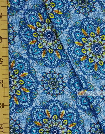 Folk Fabric by the yard ''Blue Ornament''}