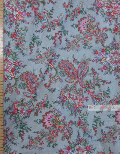 Paisley coton fabric by the yard ''Paisley On Grey-Blue''}