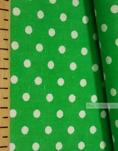 Cotton print fabric by the yard ''Small Peas, White On Green''}