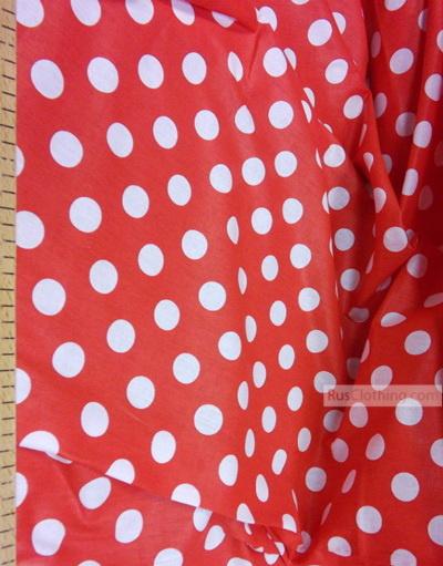 Tissu vintage au metre ''Large Peas, White On Red''}