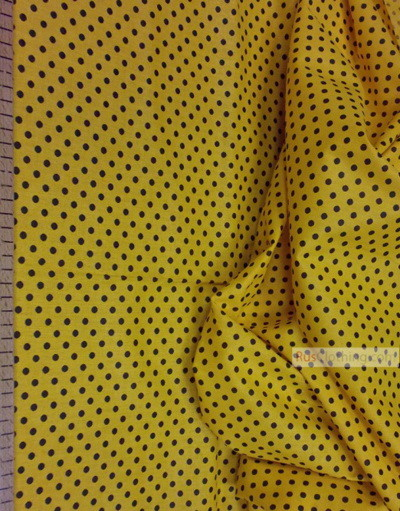 Cotton print fabric by the yard ''Black Polka Dots On Yellow''}