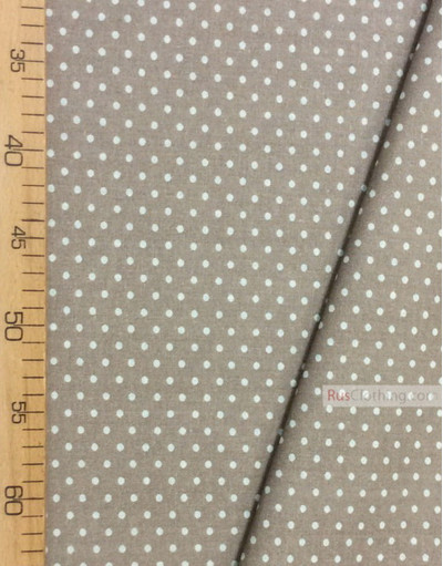Tissu coton imprime au metre ''Light Grey Small Polka Dots On Beige''}
